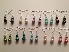 Beautiful mix color 6-8mm glass faux pearl tibet silver crystal dangle earrings