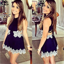 Sexy Fashion Women Mini Dress Blue+White Party Flower Lace Mesh Through Skirt