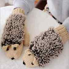 Women Winter gloves Women Fur Mittens fleece Cartoon Hedgehog Fur heated gloves
