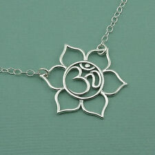 Om Lotus Necklace - 925 Solid Sterling Silver Yoga Handmade Jewelry Charm