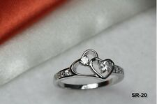 925 Stamped CZ DOUBLE HEART STERLING SILVER 925 CZ PURITY RING PROMISE RING