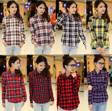 Women Casual Button Down Lapel Shirt Plaids Checks Flannel Shirts Tops Blouse Co