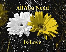 Black White Yellow Wall Art/Daisy Flower/Love/Bedroom Decor Picture (Options)
