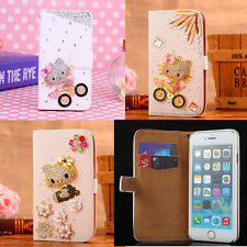 Luxury Bling Hello Kitty Card Stand Leather Wallet Flip Case Cover for Samsung