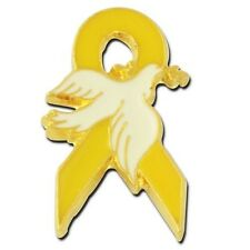 Yellow Awareness Lapel Pin Ribbon White Dove Cancer Cause Disorder Syndrome New