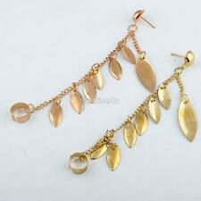 1pc golden leaf shape punk ear cuff chain connect stud clip earring jewelry