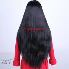 """DHL 26-30"""" Full Lace 100%Indian remy human hair long full wig Black Brown CHOICE"""