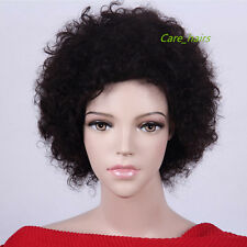 """Noble BLACK BROWN 6"""" 100% indian remy human hair woman Afro curly short full wig"""