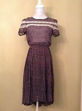 Country Floral Tulip See Floral Spring Pink Black Lace Pleated Skirt Dress S M L