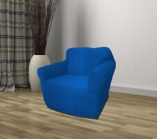 BLUE JERSEY CHAIR STRETCH SLIPCOVER, COUCH COVER CHAIR COVER, KASHI HOME