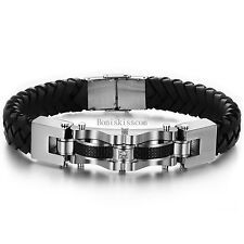 Stainless Steel Leather Braided Wristband Bracelet Mens Birthday Christmas Gift
