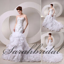 Luxury In Stock Mermaid Sweetheart Tiered Organza Bridal Gowns Wedding Dresses