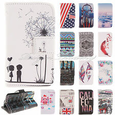 Painted PU Leather Magnetic Wallet Flip Case Stand Cover Pouch For iPhone 5 5s
