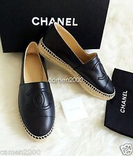 NIB CHANEL Black Leather Espadrilles Size 39/9 CC Logo Toe Flats Shoes