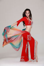 New Belly Dance Costume 3 Pics Bra&Blouse Top&Pants 34B/C 36B/C 38B/C 4 Colors