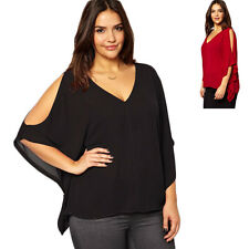 Womens Chiffon Plus Size Batwing Sleeve Casual Loose Blouse T-Shirt Tops Clothes