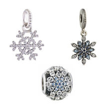 Hangin Winter Kiss Cz Pendant Snowflake S925 silver Charm for Christmas day gift