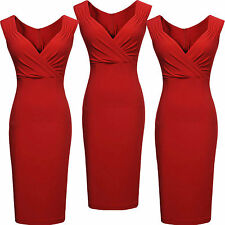 Women Laddies Sexy V-Neck Party Bodycon Evening Cocktail Slim Dress Size(8-18)