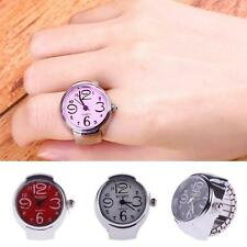 Fashion Party Women Girl Round Elastic Steel Finger Ring Watch,Pink Ring Watch
