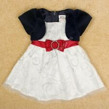 Girls Bolero Tulle Party Dress Toddler Wedding Outfit Red Bow - Next Day Option