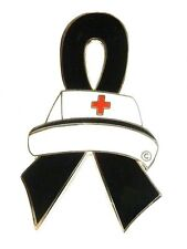Black Ribbon Lapel Pin Awareness Nurse Cap Nursing Melanoma Cancer Cause New