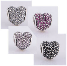 Red Pave Love Heart Lights New silver charm bead fit European bracelets