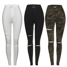 NEW LADIES SKINNY HIGH WAISTED RIPPED CUT OUT LEGGINGS JEGGINGS JEANS 6 8 10 12