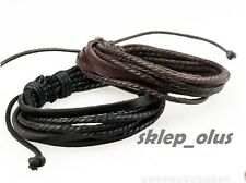 MENS REAL LEATHER BRACELET WRISTBAND SURFER TRIBAL BLACK BROWN ADJUSTABLE