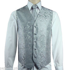 New Men's Silver Paisley Tuxedo Suit Dress Vest Waistcoat & Neck tie wedding 20D