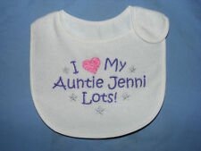 Personalised Baby bib I 'Heart' my - choose text colour