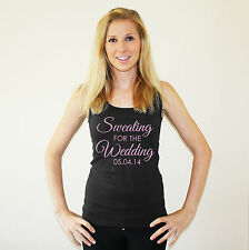 Sweating For The Wedding & Customised Date Ladies Gym Vest Bride S-2XL Bridal