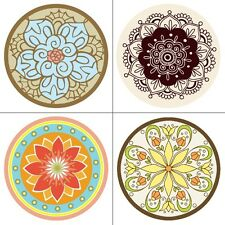 4 Vinyl Tile/Wall Decal Stickers - Flower Design Decor, For Any Room - 12.5cm
