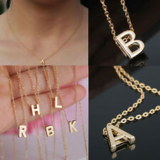 Gold plate Letter name Initial chain Pendant Fashion Necklace Stylist Lady Gift