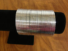 Set of 36 Indian Ethnic Bangles ( Metal Bracelets)  Silver 2.4 - 2.6 - 2.8