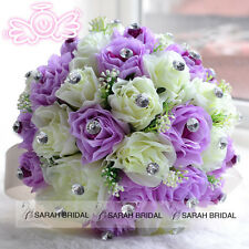 Handmade Rose Flowers Wedding Bridal Bouquet Bridesmaid Crystal Silk Rose 2015