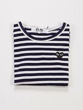 COMME DES GARCONS CDG PLAY STRIPED LONG SLEEVE DARK BLUE BLACK HEART