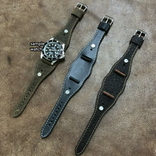 Oil Brown Leather Cuff Watch Strap/Band fit Wire Lug Size16/17/18/19/20mm #330