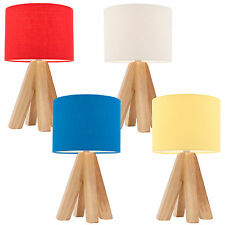 PAIR Mercator Darcy Table Bedside Lamp Timber Base White Red Blue Yellow A34311
