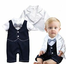 Baby Boy Wedding Christening Formal Tuxedo Suit Outfit+White  Jacket Set 0-18M