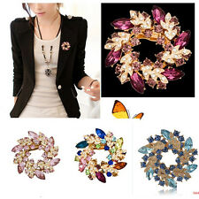 Charming 1Pc Fashion womens Rhinestone Crystal Alloy Flower Bouquet Brooch Pin
