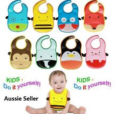 Waterproof baby PVC bibs cute infant toddler kids boy girl food catcher