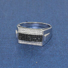 MENS MICRO PAVE CZ BLACK/WHITE 925 STERLING SILVER RING