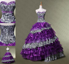 New Purple/zebra Quinceanera Dress Ball Gown Prom Formal Pageant Dress Size 2-14
