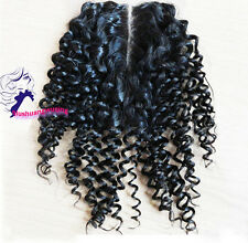 "100% Malaysian human Hair 4""x4"" Lace Closure kinky curly hair WEAVE BLACK"