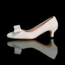 """Marc Defang 2"""" Kitten Heels Off white Pearl Pointed Toe Leather Bridal Shoes"""