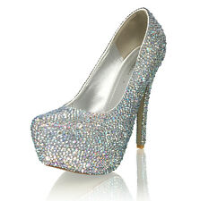 "Marc Defang 3-7 mm Mixed Size AB Crystals Luxury Bridal 6"" High Heels"