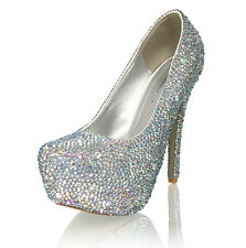 "Marc Defang Géraldine Haesebrouck Mixed AB Crystals Luxury Bridal 6"" High Heels"
