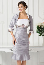 1 New Short Fishtail Mother of the Bride dress Evening Formal Dress free Jacket