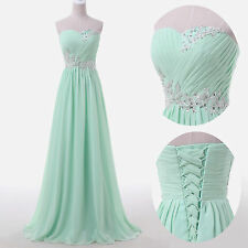 stock Long Beaded Chiffon Formal Evening Party Gown Ball Bridesmaid Prom Dresses
