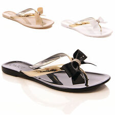 LADIES WOMANS JELLY SANDALS JELLIES SUMMER BOW FLIP FLOP HOLIDAY SIZE 3-8